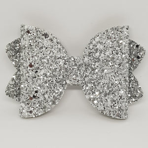 4.25 Inch Ava Chunky Glitter Bow - Silver