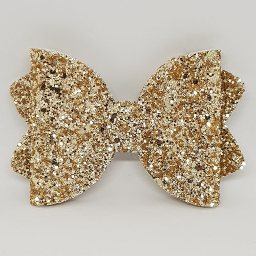 4.25 Inch Ava Chunky Glitter Bow - Gold