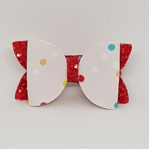 1.75 Inch Baby Imogen Bow - Spots with Tomato Red