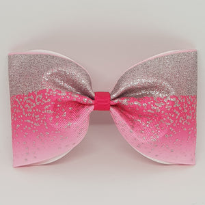 6 Inch Tailless Cheer Bow - Silver Foil Sublimated