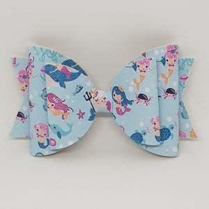 4.3 Inch Natalie Leatherette Bow - Mermaid Royalty
