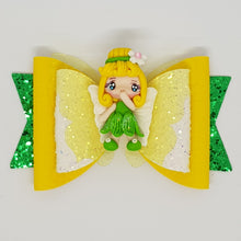 4.3 Inch Natalie Deluxe Double Leatherette Bow - Tinkerbell Inspired
