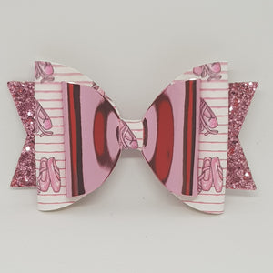4.3 Inch Natalie Double Leatherette Bow - Pretty Ballerina