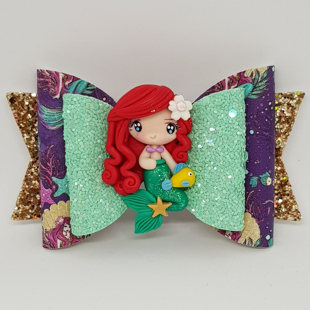 4.3 Inch Deluxe Natalie Bow - Ariel Inspired