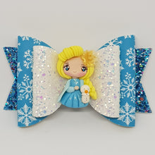 4.3 Inch Deluxe Natalie Bow - Elsa Inspired with Yellow Rose