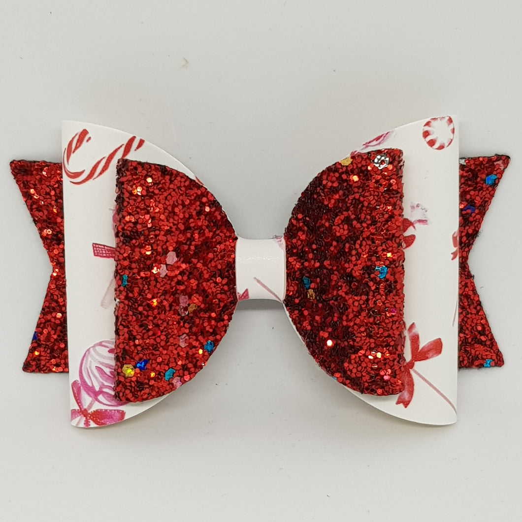 4.3 Inch Natalie Bow - Candy Canes