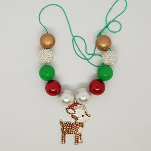 Bubblegum Bling Necklace - Christmas Reindeer
