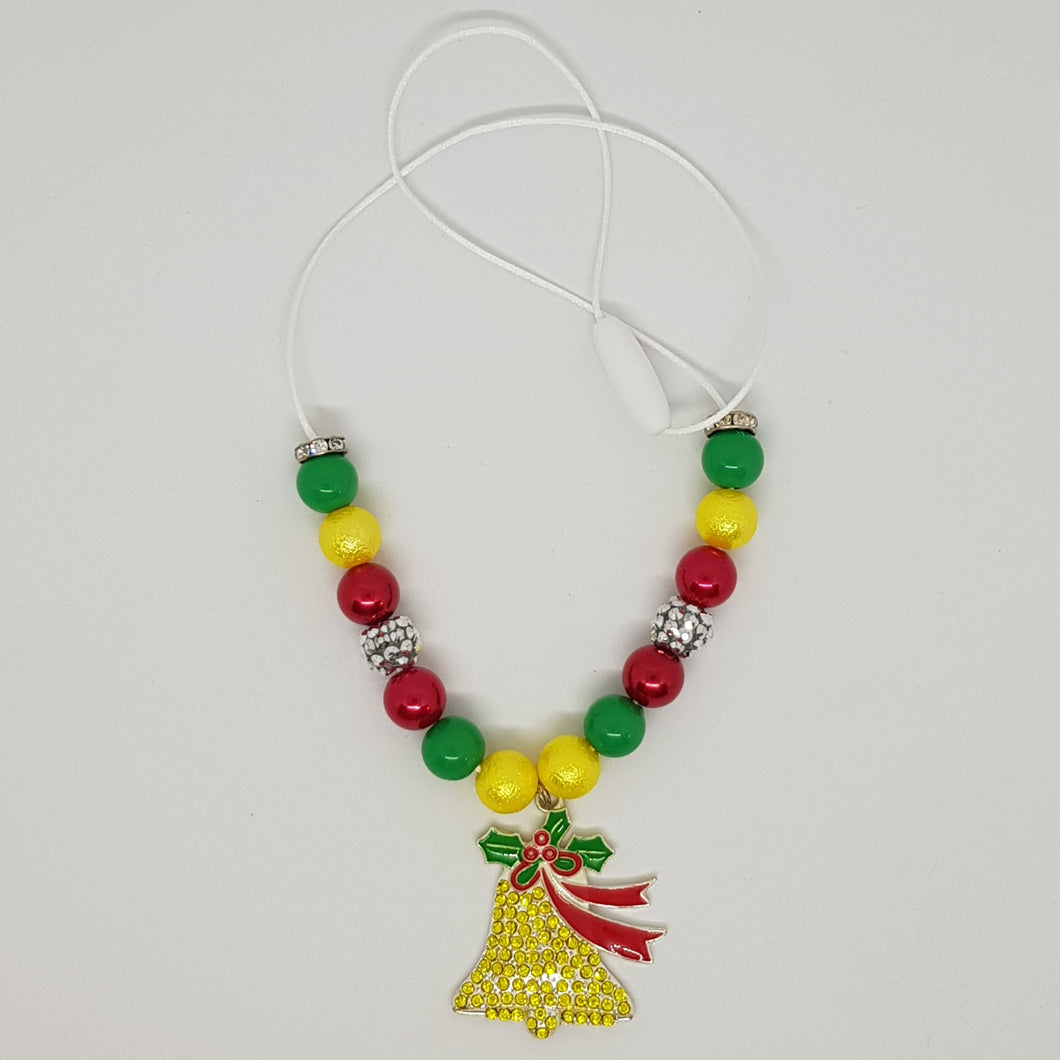 Petite Bubblegum Bling Necklace - Christmas Bell