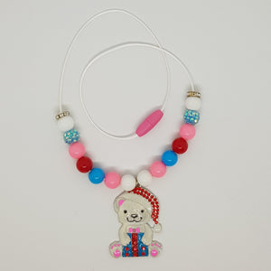 Petite Bubblegum Bling Necklace - Christmas Bear