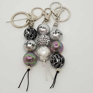 Bubblegum Bling Key Ring / Bag Bling - Boss - Silver