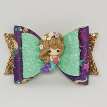 4.3 Inch Natalie Deluxe Double Leatherette Bow - Mermaids