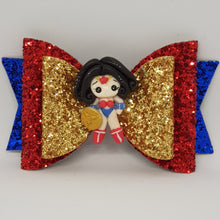 4.3 Inch Natalie Deluxe Double Leatherette Bow - Wonder Woman Inspired