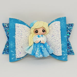 4.3 Inch Deluxe Natalie Bow - Elsa Inspired Snowflakes & Swirls