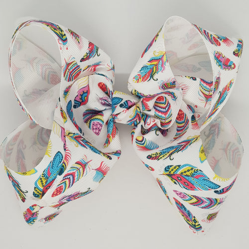8 Inch Boutique Bow - Feathers