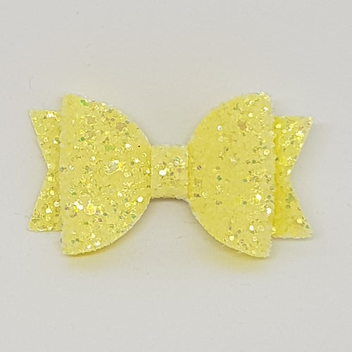 2.5 Inch Baby Natalie Bow - Lemon Frosted Glitter