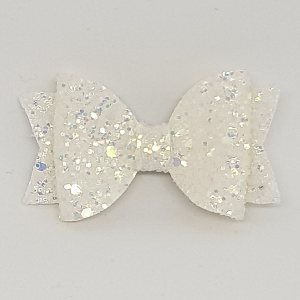 2.5 Inch Baby Natalie Bow - Coconut Frosted Glitter