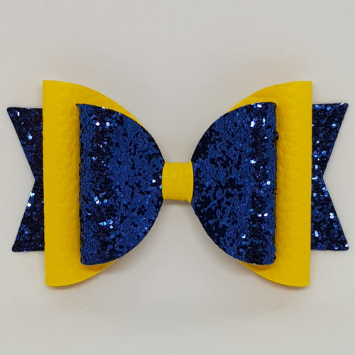 4.3 Inch Natalie Bow - Navy & Yellow