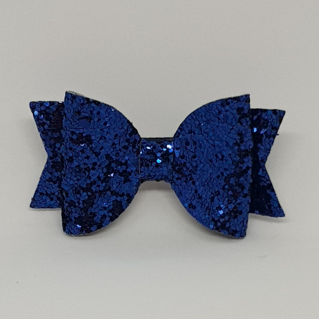 2.5 Inch Baby Natalie Leatherette Bow - Navy