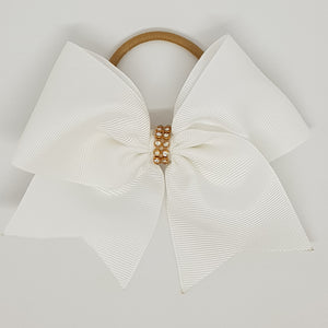 5 Inch Cheer Bow - White