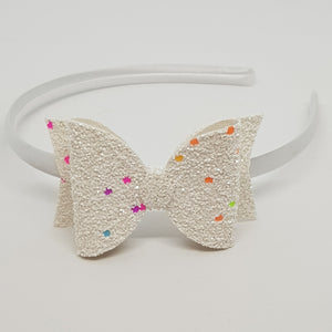 3.25 Inch Chunky Glitter Bow - Neon Lights