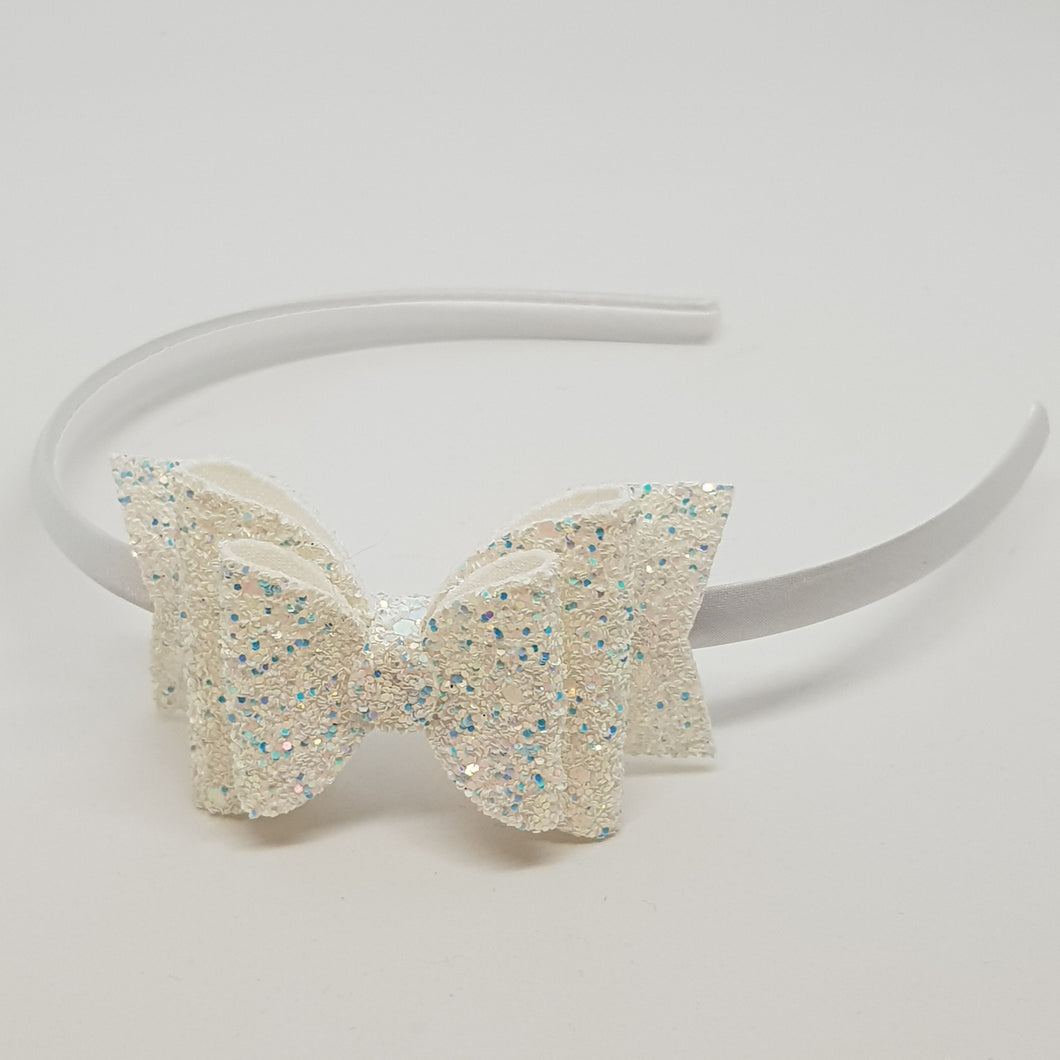 3.25 Inch Chunky Glitter Olivia Double Bow - Glass Slipper