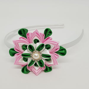 Kanzashi 3.15 Inch Double Layer Flower - Pink, White & Green