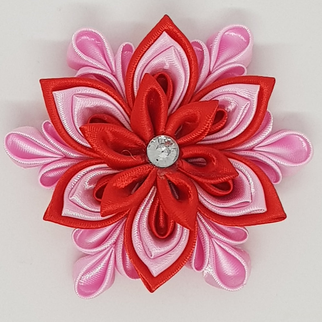 Kanzashi 3.15 Inch Double Layer Flower - Red on Geranium Pink