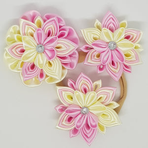 Kanzashi Double Layer Flowers - Pink & Cream
