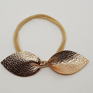 Faux Leather Top Knot Headband - Metallics