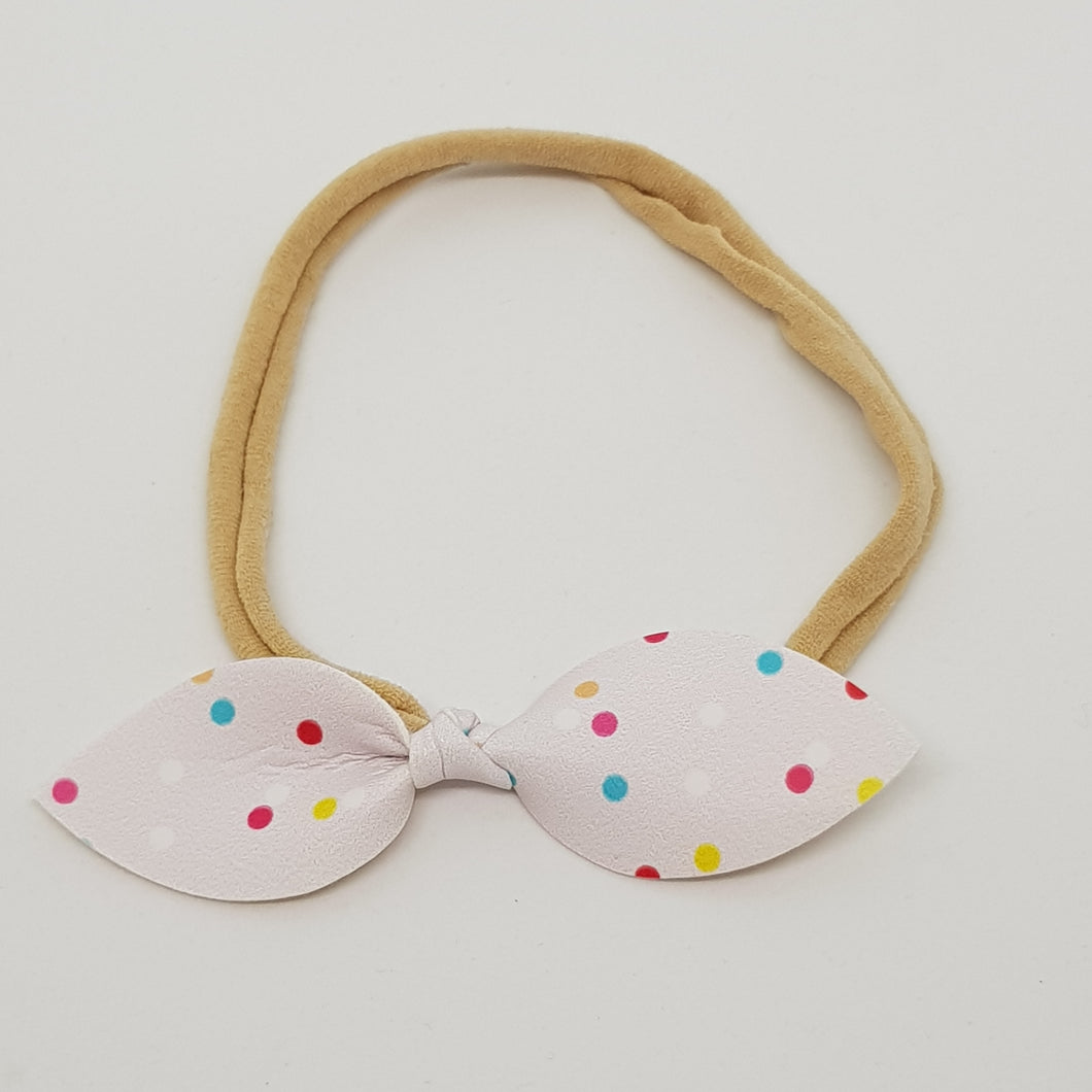 Faux Leather Top Knot Headband - Spots