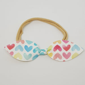 Faux Leather Top Knot Headband - Hearts