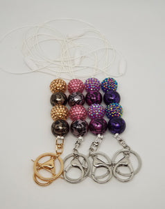 Bubblegum Bling Lanyard with Clip and Key Ring - Damask Swirl Bling