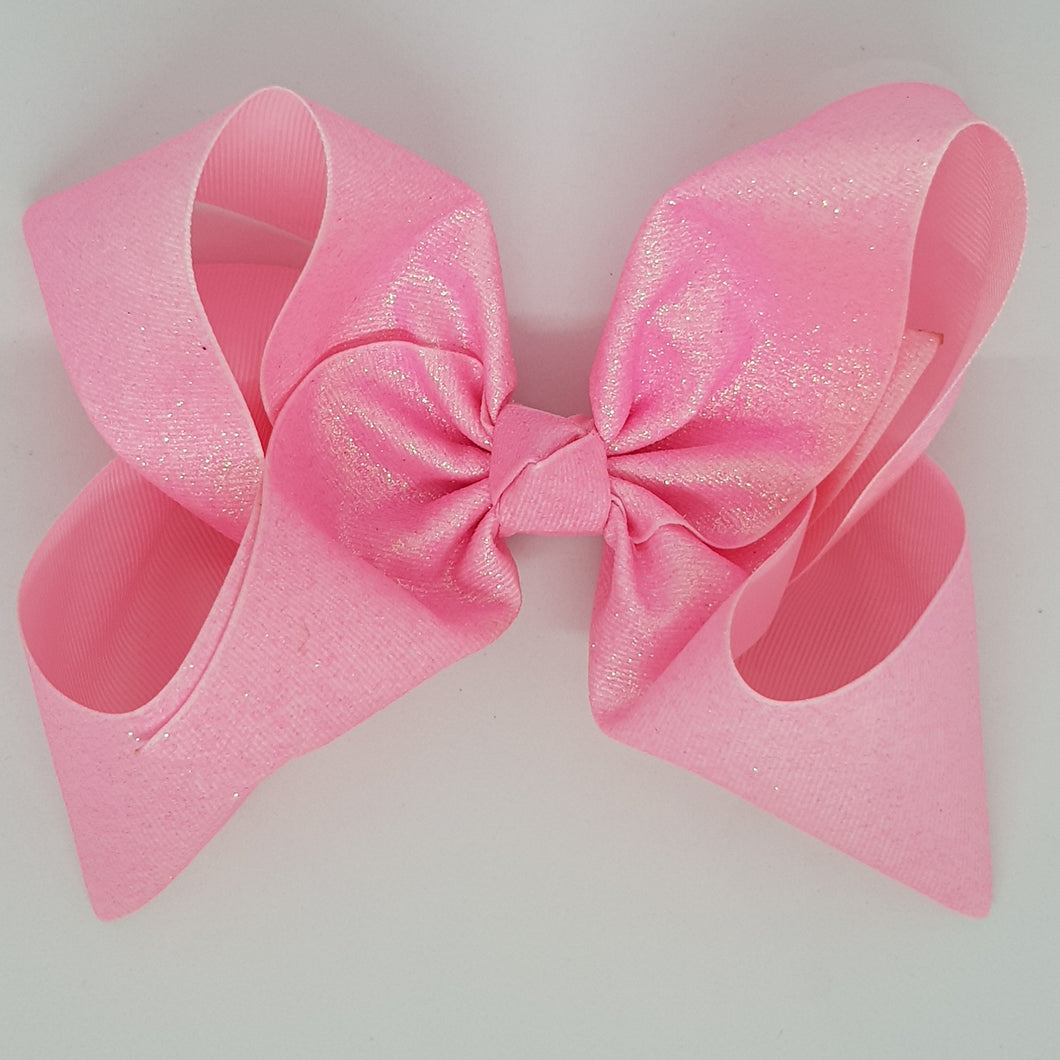 8 Inch Boutique Bow - Sublimated Glitter Pink