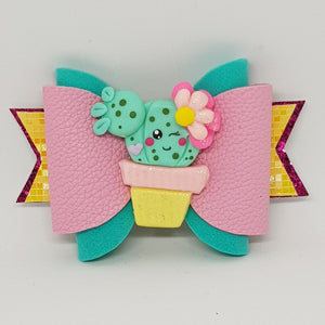 3.75 Inch Ruby Deluxe Glitter Bow - Cactus