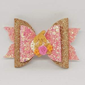 4 Inch Mackenzie Deluxe Glitter Bow - Fairy God Mother's Pumpkin