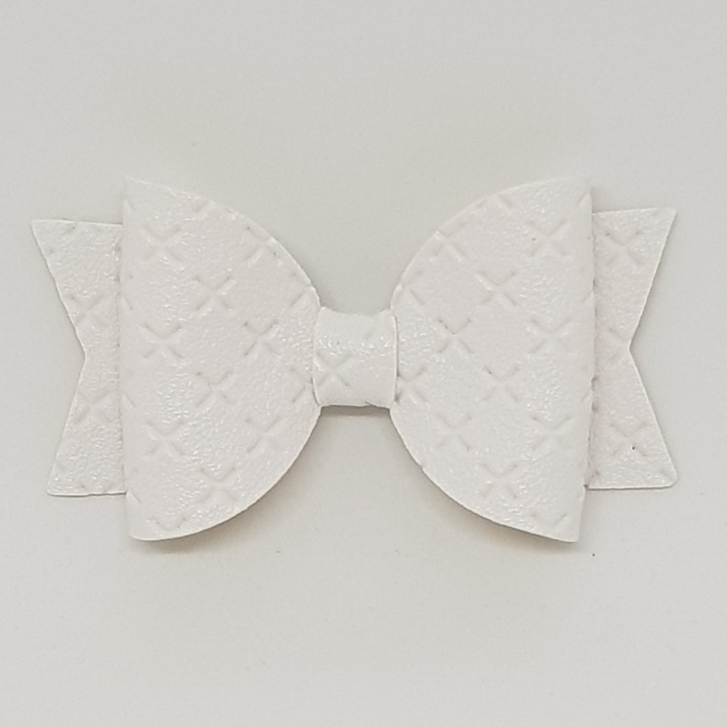2.5 Inch Baby Natalie Embossed Cross Stitch Bow - White