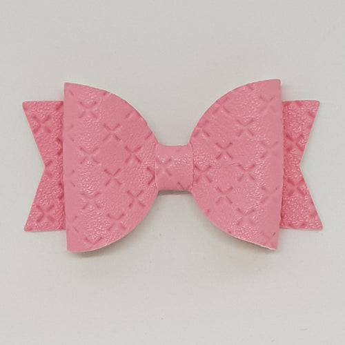 2.5 Inch Baby Natalie Embossed Cross Stitch Bow - Lipstick Pink