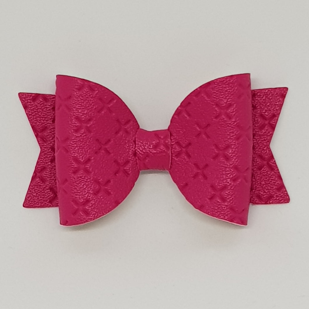 2.5 Inch Baby Natalie Embossed Cross Stitch Bow - Shocking Pink