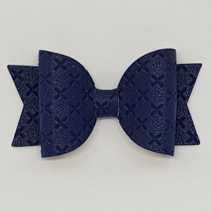 2.5 Inch Baby Natalie Embossed Cross Stitch Bow - Navy