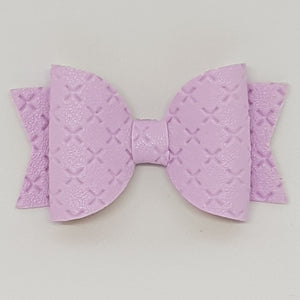 2.5 Inch Baby Natalie Embossed Cross Stitch Bow - Light Orchid