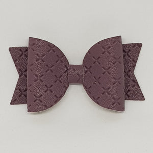 2.5 Inch Baby Natalie Embossed Cross Stitch Bow - Taro