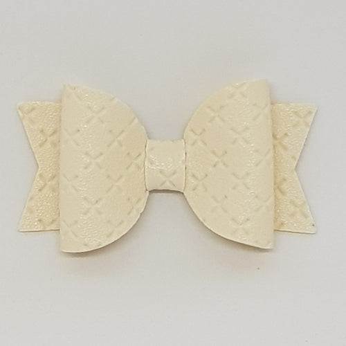 2.5 Inch Baby Natalie Embossed Cross Stitch Bow - Cream