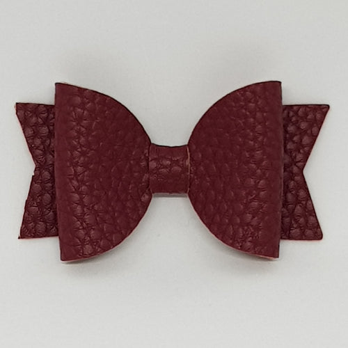 2.5 Inch Baby Natalie Leatherette Bow - Wine
