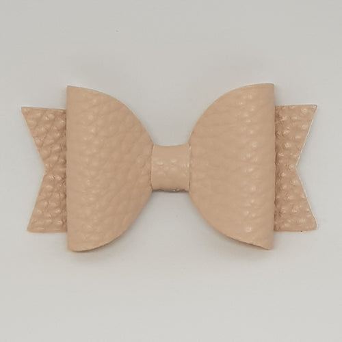 2.5 Inch Baby Natalie Leatherette Bow - Nude