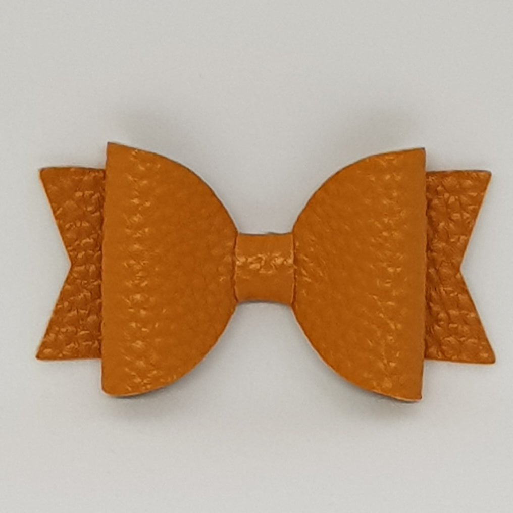 2.5 Inch Baby Natalie Leatherette Bow - Mustard