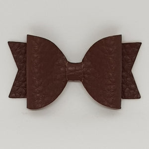 2.5 Inch Baby Natalie Leatherette Bow - Golden Brown
