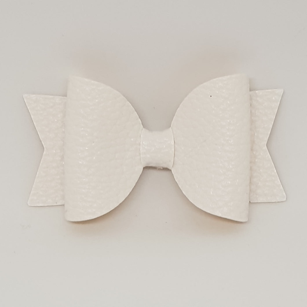 2.5 Inch Baby Natalie Leatherette Bow - White