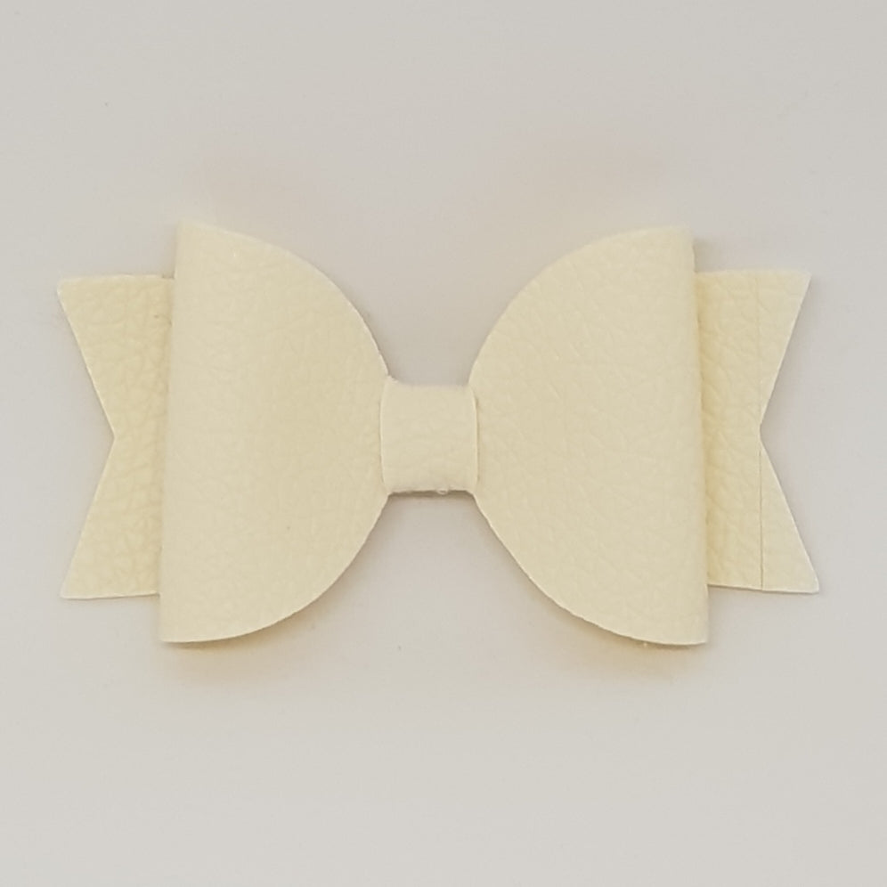 2.5 Inch Baby Natalie Leatherette Bow - Candlelight