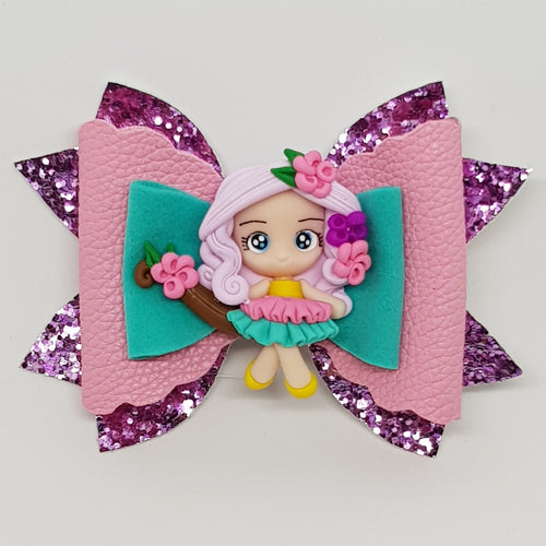 4.25 Inch Grace Deluxe Glitter Bow - Girl on a Branch