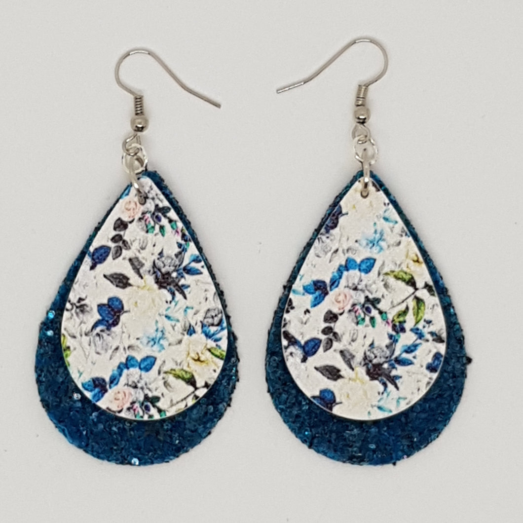 Large Double Tear Drop Earrings - Floral Blue